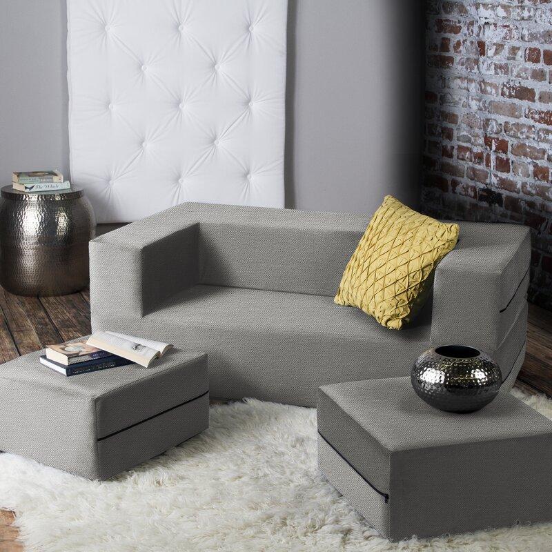 Zipcode Design Eugene Modular Loveseat Ottoman Sleeper Reviews