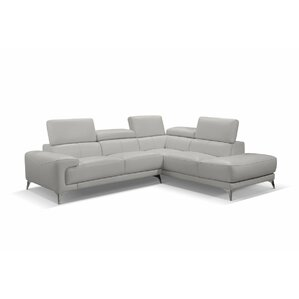 Mcclary Leather Sectional by Orren Ellis
