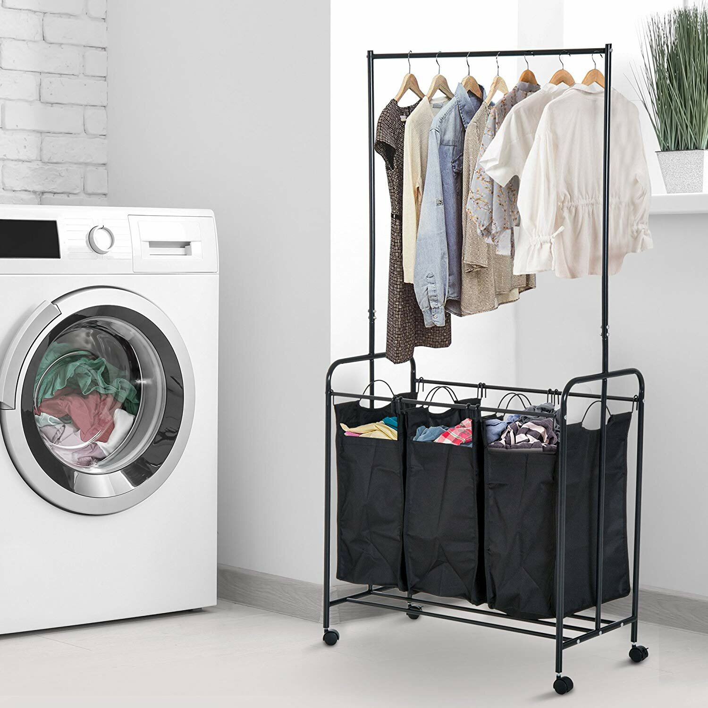 Rebrilliant 3 Bag Heavy Duty Divided Laundry Hamper Sorter Cart With