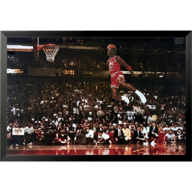 9b0244ed7cc Buy Art For Less  Michael Jordan - Foul Line Dunk Sports - NBA Chicago Bulls  Superstar Legend  Framed Photographic Print   Reviews
