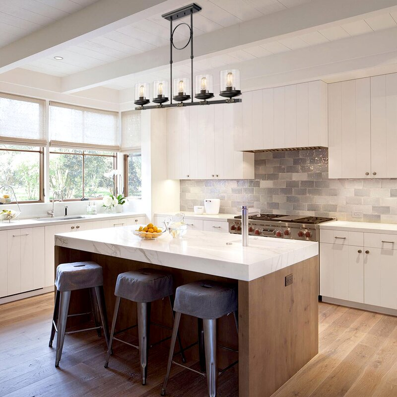 Glass Pendant Lights For Kitchen Island: Gracie Oaks Dennis Retro Kitchen Linear Island Pendant