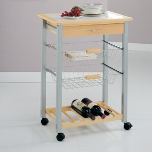 Organize It All Kitchen Cart with Tile To..