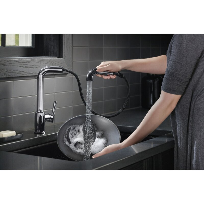 K-7505-BL,CP,SN Kohler Purist Single-Hole Kitchen Sink Faucet with 8 ...