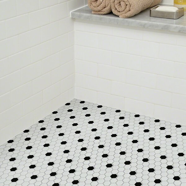Shaw Floors Sophisticated 0 7 X Porcelain Mosaic Tile In White Black Wayfair