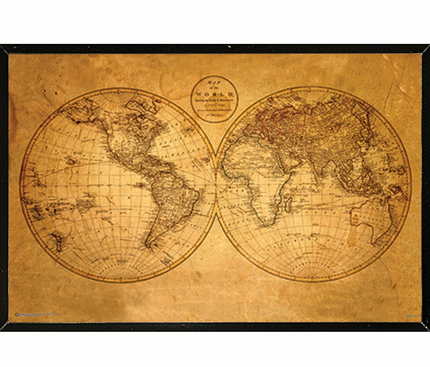 picture regarding Vintage World Map Printable referred to as Previous Earth Map Framed Picture Artwork Print, Poster