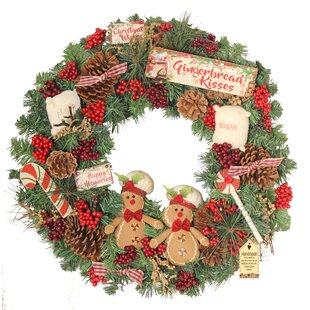 gingerbread kisses 60cm christmas wreath