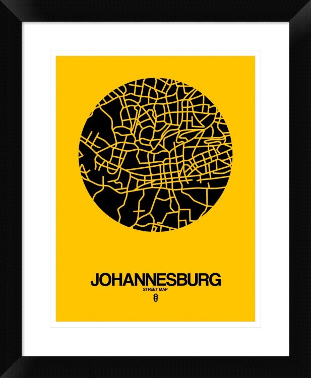 Naxart Johannesburg Street Map Yellow Framed Graphic Art