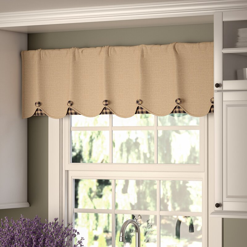 Green Kitchen Curtain Ideas: August Grove Addie Burlap Scalloped Curtain Valance