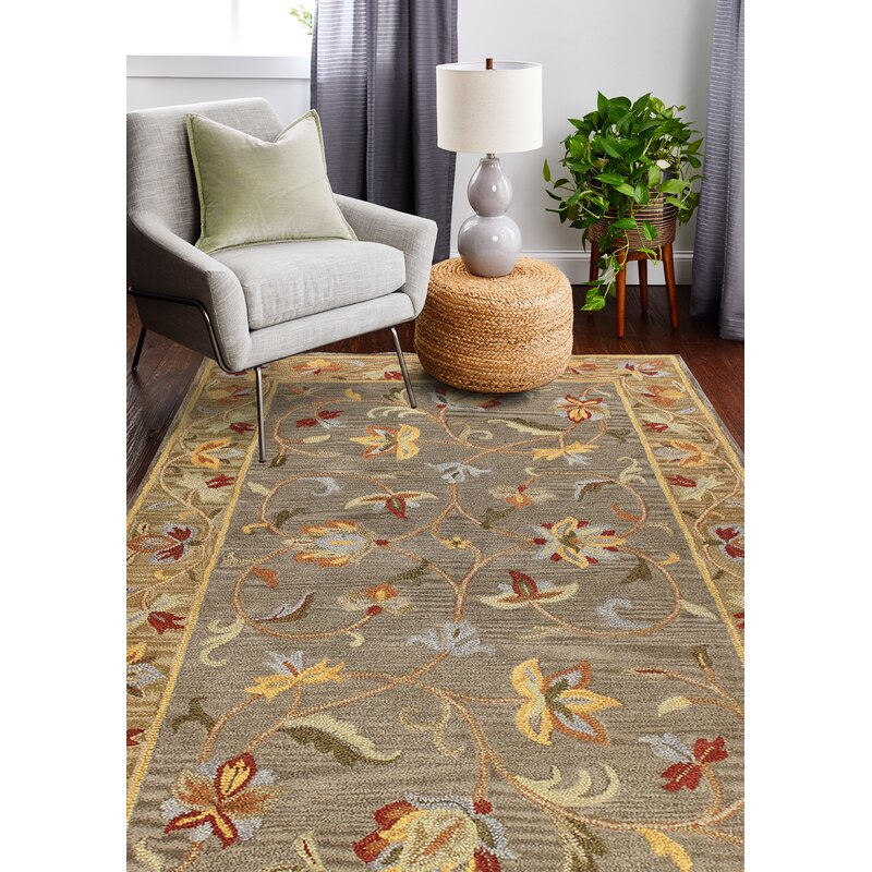 August Grove Tymeo Hand Tufted Wool Grey Area Rug
