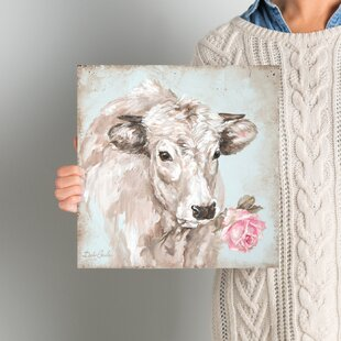French Farmhouse Series: Cow With Rose II Painting Print On Wrapped Canvas