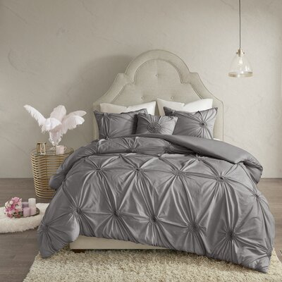 House of Hampton Noack 4 Piece Duvet Cover Set Size: Full/Queen, Color: Gray