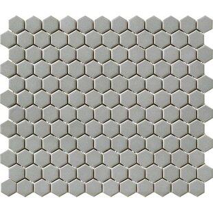 Vintage 1 X Porcelain Mosaic Tile In Gray Hexagon