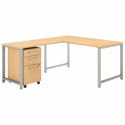 Bush Business Furniture 400 Series 3 Piece L-shaped Desk Office Suite Color: Natural Maple
