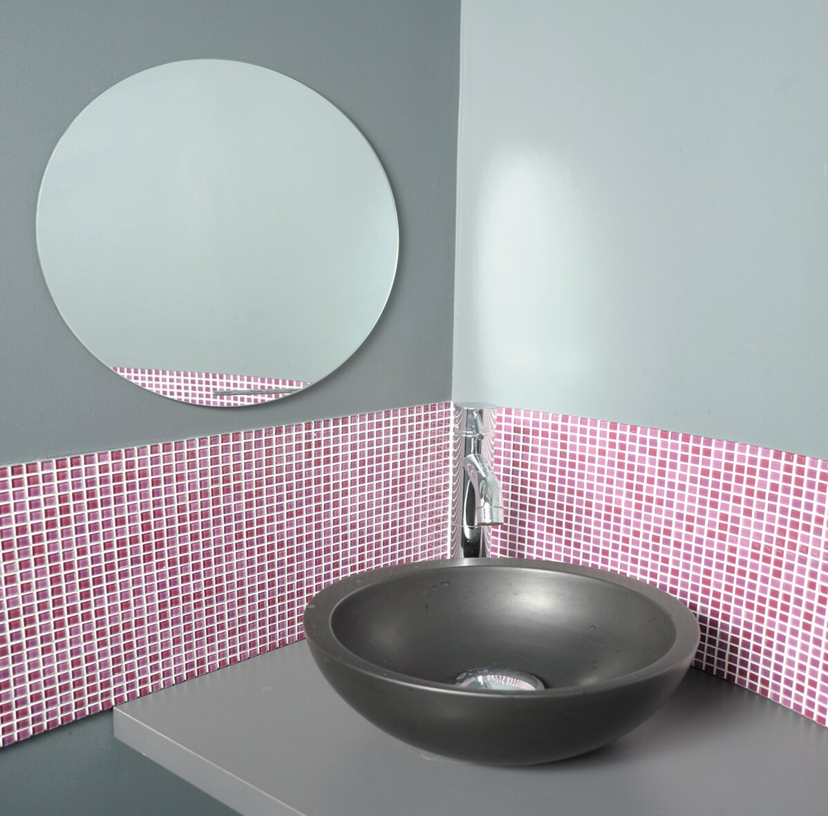 Evideco Mirrorfina Adhesive Round Bath Wall Mirror & Reviews | Wayfair