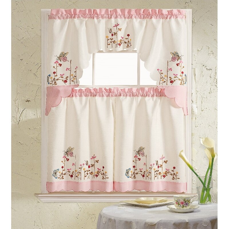 Daniels Bath Pink Butterfly 3 Piece Kitchen Curtain Set