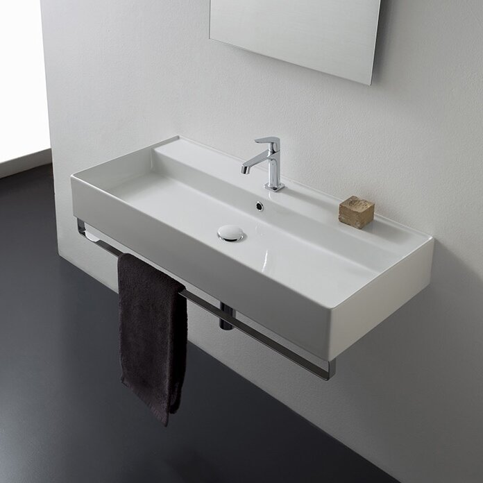 Teorema Ceramic 48 Wall Mount Bathroom Sink With Overflow