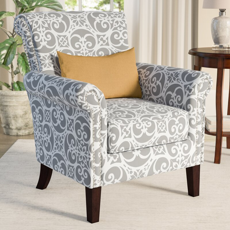 Alcott Hill Olson Accent Club Chair with Arms Upholstered Silver ...