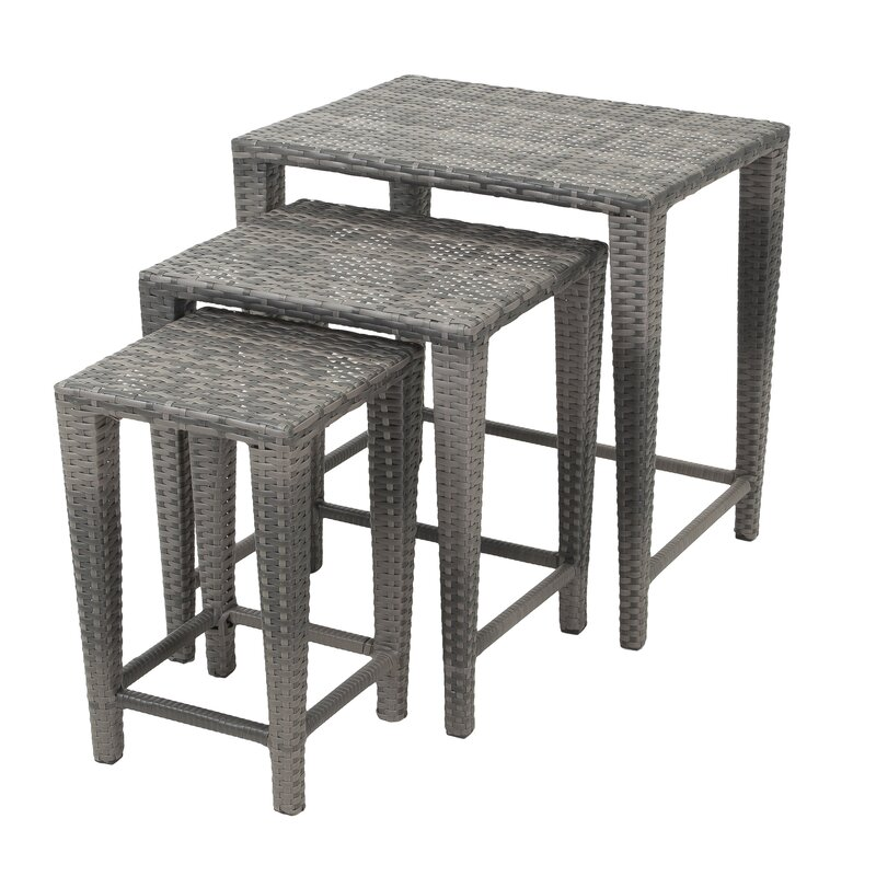 Outdoor Nesting Tables ~ Kinslow piece wicker nesting table set reviews birch