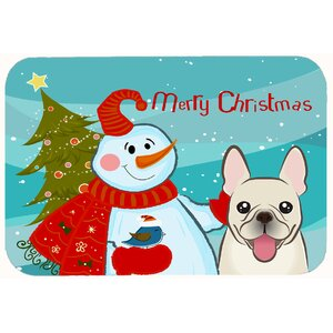 Snowman with French Bulldog Kitchen/Bath Mat