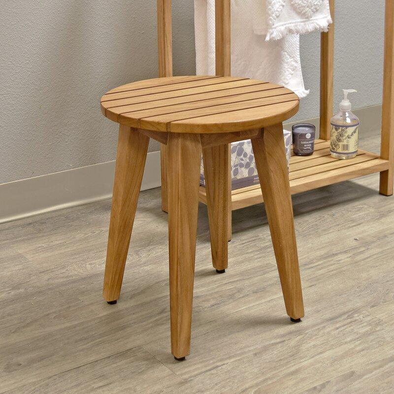 Asta Furniture, Inc. Spa Teak Round Shower Stool   Wayfair