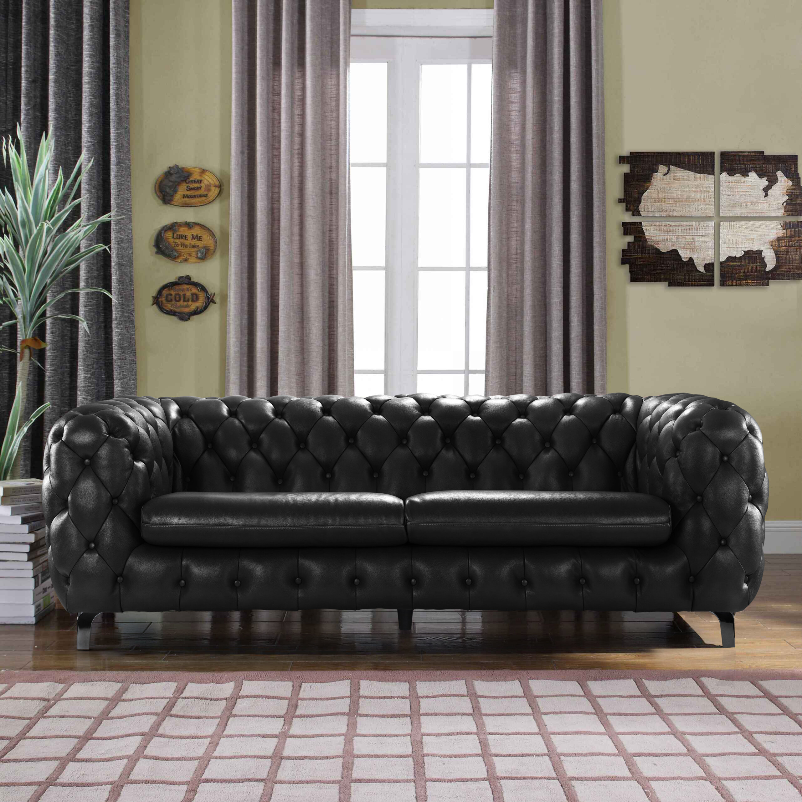 Yuliya Leather Chesterfield Sofa with Built In Shelves & Reviews
