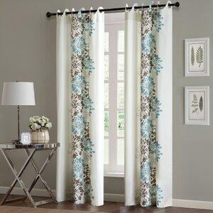 Rubin Nature/Floral Semi-Sheer Grommet Single Curtain Panel