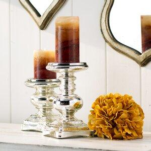 2 Piece Glass Candlestick Set