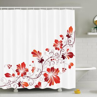 Traditional House Chinese Purity Symbol Blooms With Curved Lace Branch And Leaves Shower Curtain Set