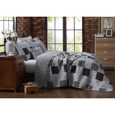 Evangeline 5 Piece Quilt Set Avondale Manor Size: King Quilt + 2 Shams + 2 Throw Pillow, Color: Gray