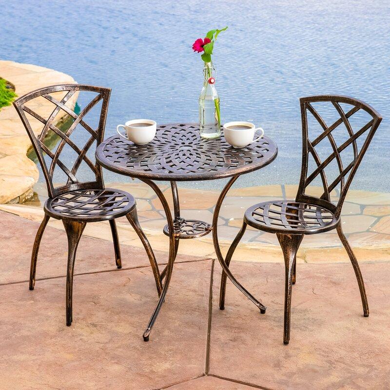 charlton home hearst 3 piece bistro set reviews wayfair. Black Bedroom Furniture Sets. Home Design Ideas