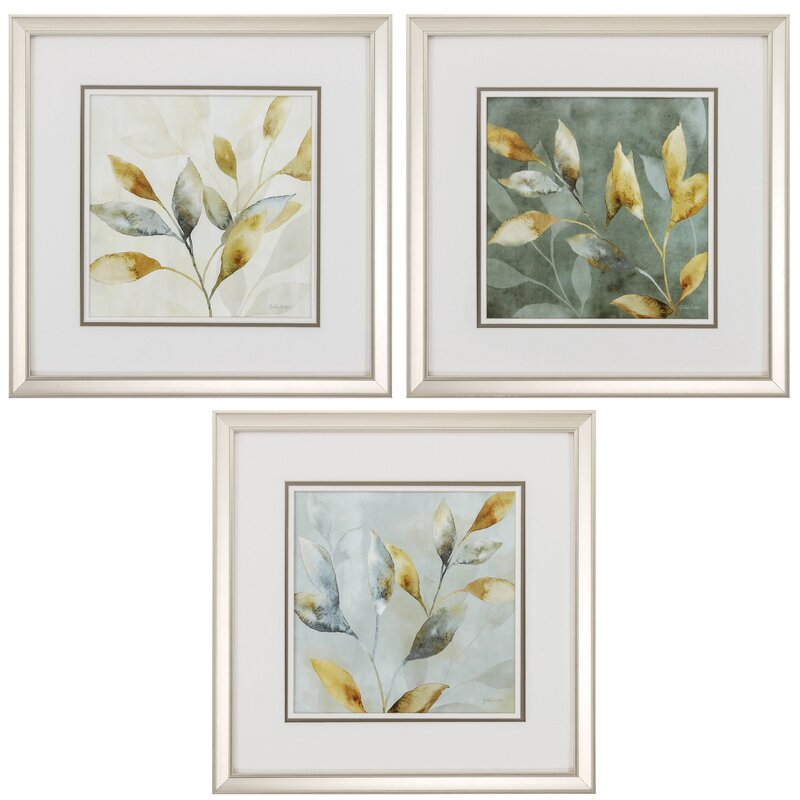 Majestic Leaves 3 Piece Framed Graphic Art Set Amp Reviews