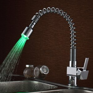 Sumerain International Group Single Handle Deck Mount LED Kitchen Faucet with Pull-Out Sprayer