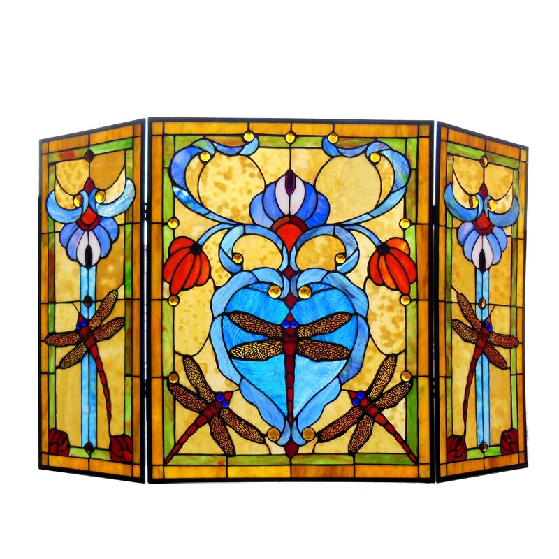 Peachy Dragonfly 3 Panel Metal Fireplace Screen Home Interior And Landscaping Ologienasavecom