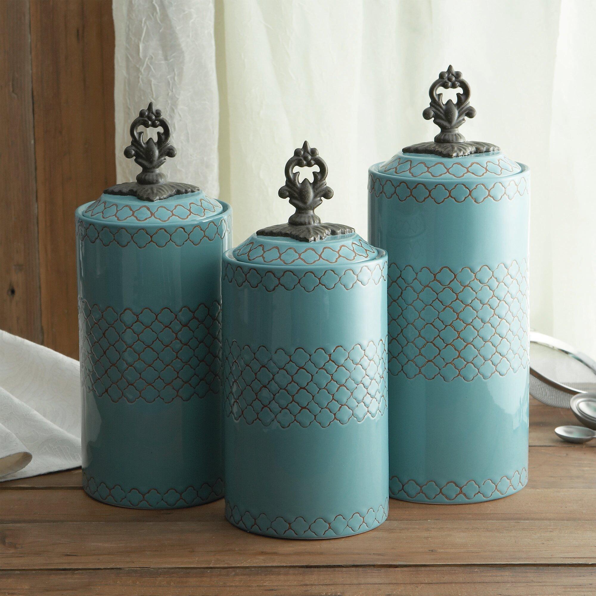 Bungalow Rose 3 Piece Cylinder Ceramic Kitchen Canister Set