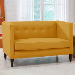 Linen 5 Button Chaise Chesterfield Loveseat by Skyline Furniture