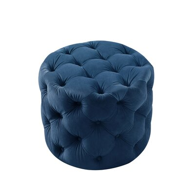 House of Hampton Mucha Tufted Cube Ottoman Upholstery Color: Navy Blue, Upholstery Material/Body Fabric: Velvet