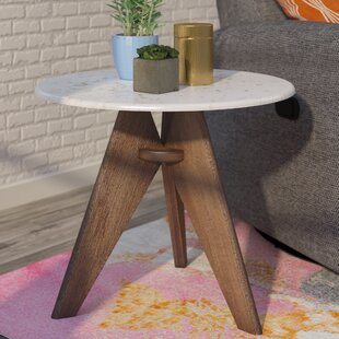 Koury Tall Marble And Wood End Table