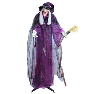 touch activated lighted standing witch and broomstick animated halloween decoration with sound