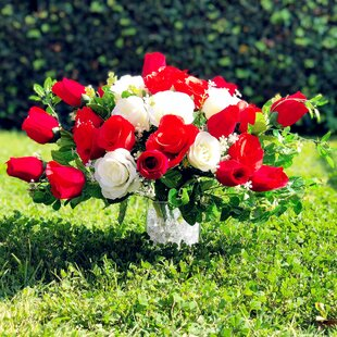 Artificial red roses in vase wayfair artificial red rose and eucalyptus centerpiece mightylinksfo