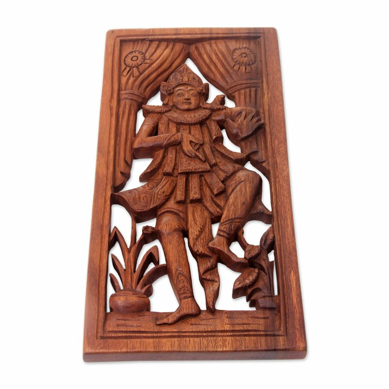 Charmant Baris Dancer Balinese Dance Themed Hand Carved Wood Wall Décor