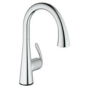 Grohe Ladylux Single Handle Deck Mount Kitchen Faucet with Dual Spray Pull Down