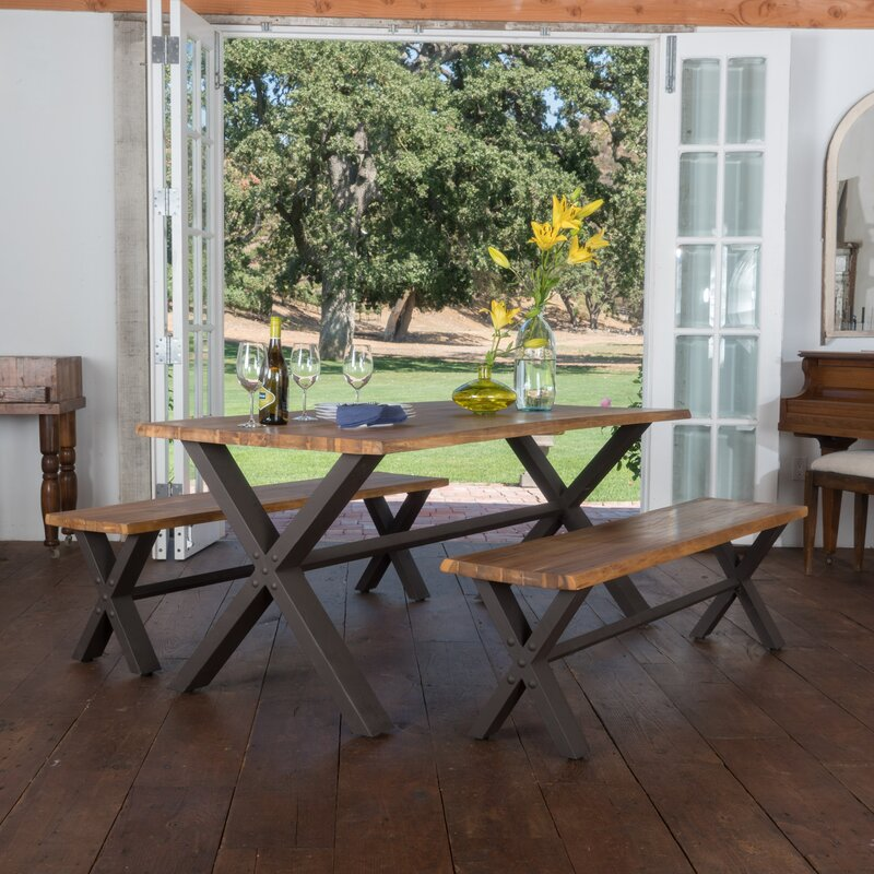Good Batavia Acacia Wood 3 Piece Dining Set