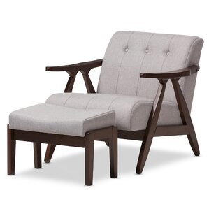 Enrico Mid-Century Modern Lounge Chair and Ottoman by Wholesale Interiors