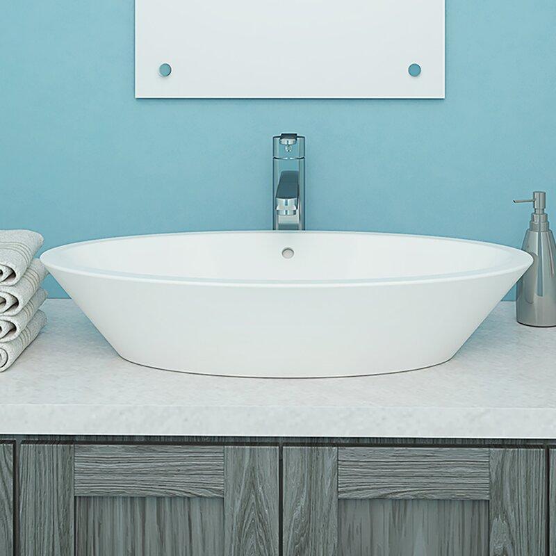 DECOLAV Shaina Classically Redefined Ceramic Oval Vessel Bathroom ...