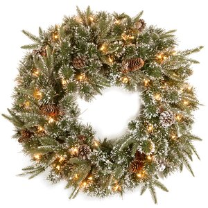 Pine Wreath with Snow Pinecones with 50 Clear Lights