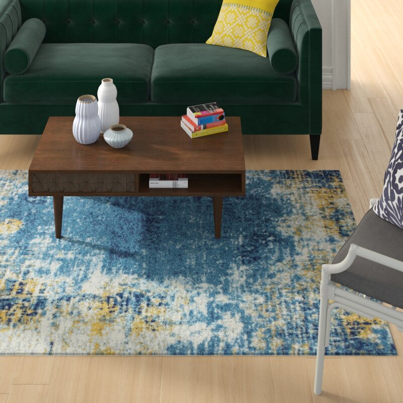 Wrought Studio Reasor Blue Area Rug, Size: Rectangle 86 x 116