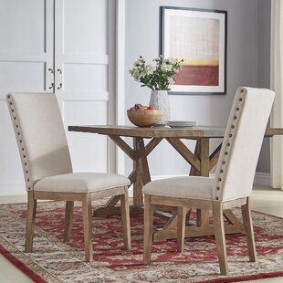 Irving Place Linen Nailhead Upholstered Dining Chair (Set of 2)