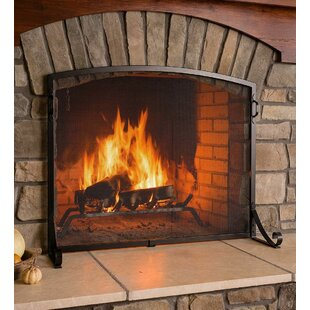 Fireplace screens doors youll love wayfair arched top flat guard single panel steel fireplace screen teraionfo