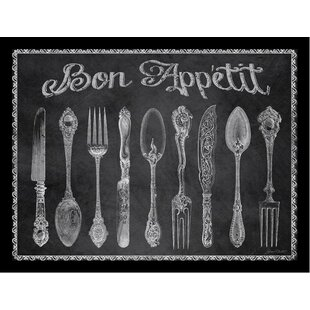 u0027Silverware Knives Forks and Spoons Bon Appetit Chalkboard Posteru0027 by Jean Plout Framed Painting Print  sc 1 st  Wayfair & Knife Fork Spoon Wall Art | Wayfair