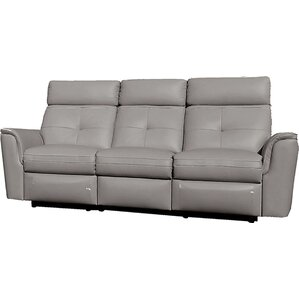 Alexia Leather Reclining Sofa by Latitude Run